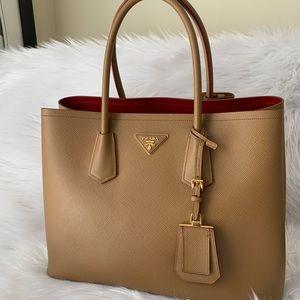 Prada Cuir Double Bag- Saffiano Caramel Leather